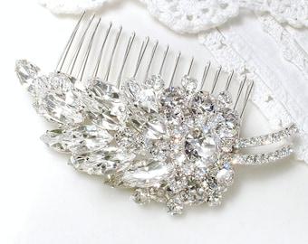 OOAK Old Hollywood Glam Bridal Rhinestone Hair Comb/Brooch, JULIANA OOAK 1950s Large Leaf Clear Crystal Silver Vintage Wedding Hairpiece