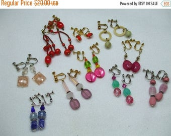 SALE 50% OFF Vintage Lot of Gold and Silver Tone Bead  Dangle Screw  Earrings Super Fun Summer Colors  10 pairs  lot 3
