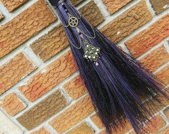 Broom, Witch's Besom, Altar Broom in Black and Deep Purple, Witchcraft, Wicca, Witches Altar, Broomstick, Pagan, Besom Broom, Witch, Magick