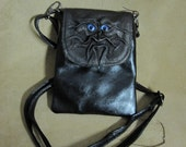 Grichels leather purse/handbag - bronze with custom metallic blue/purple eyes