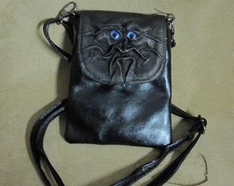 Grichels leather purse/handbag - bronze with custom metallic blue/purple eyes