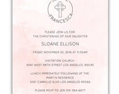 Letterpress and Watercolor Christening Invitations