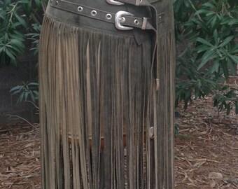 showdiva designs FLOOR Length Leather FRINGE tassel Belt or Skirt RoCk n RoLL BoHo CowGirL CHIC
