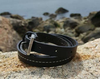 Mens Wrap Bracelet Gift for Dad Black Leather Surfer Surf Triple Wraps Slit Closure