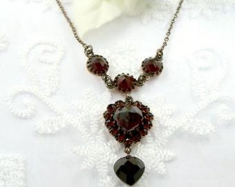 Vintage garnet heart necklace in Victorian style // ГРАНАТ CY9HBT EFL