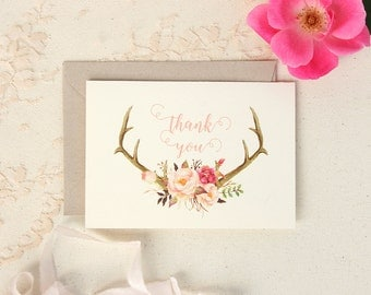 Floral Antler Thank You Cards - Rustic Wedding Note Cards -Blush Floral Antler Thank You Cards - Wedding Stationery