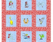 Custom order for Cindy - Embroidered Dr Seuss Quilt
