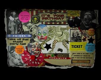 Creepy Clown Card, Birthday Greeting, Scary Clown Card, 89, Birthday Card, Clown, Vintage Clown Images, Circus Clown, Creepy Decoration