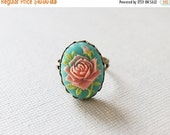 Black Friday SALE Vintage Style Rose Cameo Ring. flower cameo ring. adjustable ring. antique brass ring.