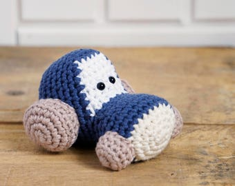 Tractor Baby Rattle - blue and beige stuffed toy - crochet toy tractor -  organic cotton