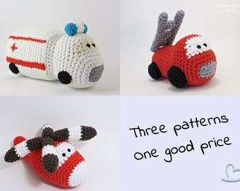 Amigurumi vehicles crochet pattens ambulance car, fire truck and helicopter toys for little boys written in US English