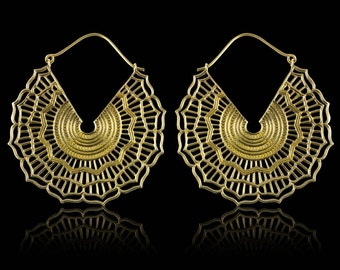 Sacred Mandala Brass Earrings - Tribalstyle Steampunk