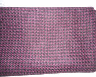 """Wool Houndstooth Fabric-Maroon & Black-Large Piece About 190"""" Long M/L x 60""""-Unused"""