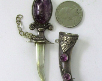 Mexico Silver Amethyst Dagger and Sheath Brooch Pin Large Sterling