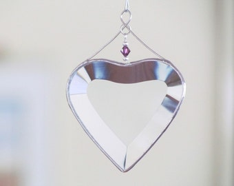 February Birthday Heart Suncatcher Purple Amethyst Glass Crystal Accented  Beveled Glass Heart Ornament Handmade in Canada Gift Idea
