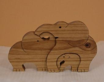 Elephant Family of Three - Elephant Trio - Wooden Elephants - Elephant Decor for Home or Office