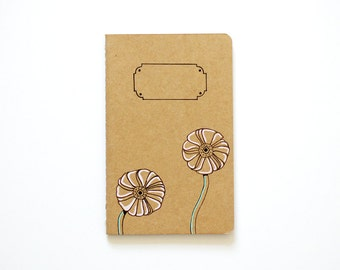 Small Notebook, Pastel Ranunculus, Flower Illustration, Pocket Journal, Blank Notebook, Sketchbook, Hand Drawn, OOAK