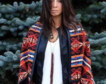 Oversized Cardigan, Wool Poncho, Wool Jacket, Winter Layering, Blanket Coat, Oversized Jacket, Wool Cape, Shawl, Leather Jacket , Red,Tribal