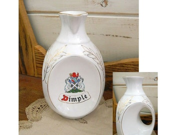 Dimple White Ceramic Decanter - Water Jug - Empty Whiskey Bottle