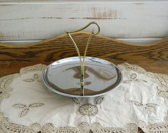 Kromex Chrome and Brass Serving Tray - Retro Serving Dish