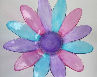 Glass Daisy Bowl Tinted Aqua, Pink, & Purple