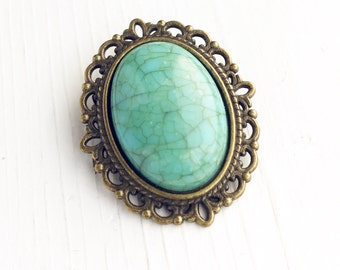 Vintage Style Faux Turquoise Brooch / Small Pin Lover Gift Wedding Bridesmaid Favors Bridal Party Boutineer Bouquet Boho Bohemian Rustic
