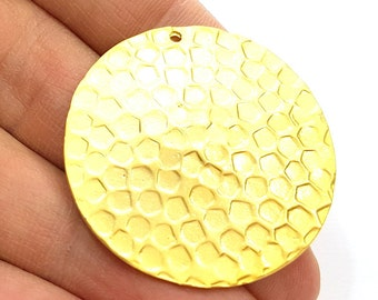 Gold Pendant Gold Plated Hammered Pendant (39mm)  G7223