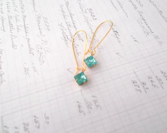 Delicate Aqua and Gold Plated Earrings Dainty Gold Earrings Minimalist Jewelry