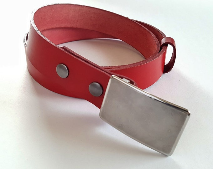 """Red Belt & Buckle SET Signed Original Hypoallergenic Buckle w/ Hand Dyed Red 1.25""""Interchangeable Leather Belt for Suits, Chinos, Golf, etc."""