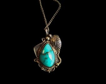 Vintage Turquoise Native American Pendant Necklace signed DT ~ Silver and Turquoise ~ Native American Jewelry