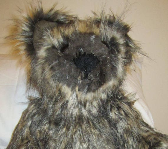 Hairy Toy Brown Bear Faux Fur Teddy Hairy Teddy Bear Stuffed Cuddly Toy Furry Companion Collectible Toy Cuddly Toy Bear Furry Bear Mom Gift