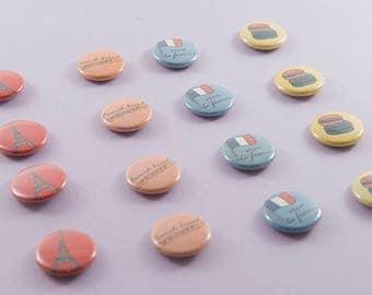 Paris Buttons Pins- set of 4, 1 inch