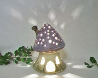Fairy House/Night Light - Lavender Roof, Chimney, Mushroom Style, Starry Sky - Hand Painted Pasture Grass  - Ready to Ship - Light Options