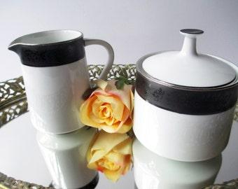 Vintage Noritake Sharon Black White Floral Embossed Cream & Sugar Set