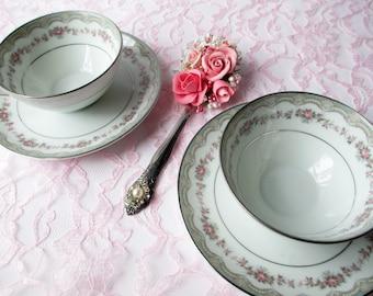 Vintage Teacups and Saucers Noritake Glenwood Pink Rose - So Chic