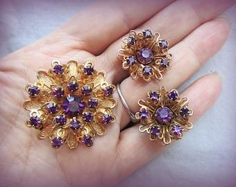 Vintage Purple Rhinestone Gold Burst Demi Parure & Clip-on Earrings -  EPSteam - purple rhinestone - brooch earrings filigree jewelry set