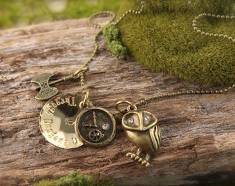 Labyrinth Owl Through Dangers Untold Necklace