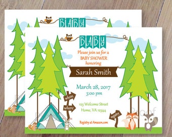 Camping, Personalized Baby Shower or Birthday Invitations, Set of 10, Professionally Printed, Camping Forest friends, Camping Baby Shower