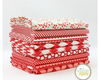 "Basics - Red - Fat Quarter  Bundle - 9 - 18""x21"" Cuts - Bonnie and Camille - Moda Quilt Fabric"