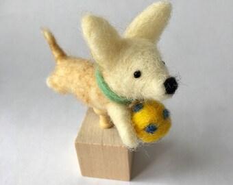 Mini Needle Felted Chihuahua Dog On a Cube