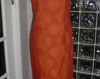 Vintage 60s Keone Sportwear Hawaiian Dress Burnt Orange Brocade Column Leg Slits XS Xtra Small