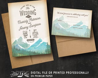 Rustic Wedding Invitation SET | Outdoor Wedding Invitation | Printed Invite | Vintage Retro Wedding Invitation | Mountain Wedding Set