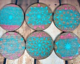 Mandala Hardwood Coaster-multi color