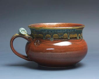 Handmade pottery soup mug ceramic chili mug cereal ice cream bowl iron red 20 oz 3984