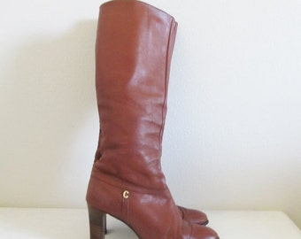 40% OFF SALE Vintage 1970's Tall Brown Leather Boots / Size 7 Woman's Heeled Hippie Boots