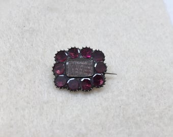 Georgian Amethyst Hair Mourning Brooch