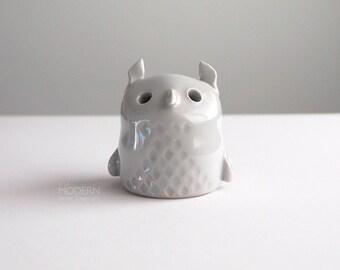 Vintage Small Cute Gray Owl Studio Pottery Figurine
