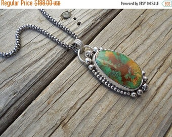 ON SALE Beautiful turquoise necklace handmade in sterling silver