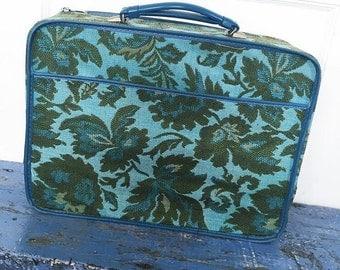 Vintage Avon Sales Rep Suitcase, Vintage Suitcase, Blue Floral Suitcase, Soft Suitcase