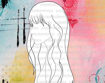 Mixed Media Templates ~ Female Profile Long & Fringe - Paperbabe Stamps - Mylar templates - For mixed media and paper crafting